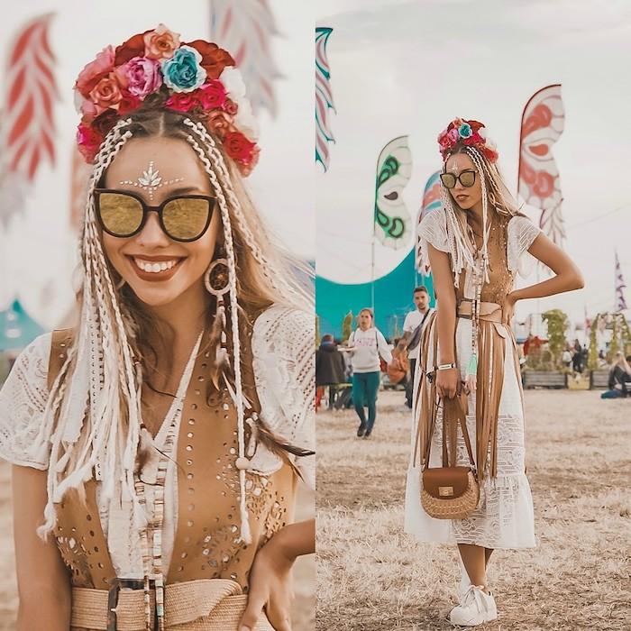 Couronne de fleur look carnaval coiffure avec petites tresses, robe boheme chic longue blanche, tenue d'ete cool festival Coachella