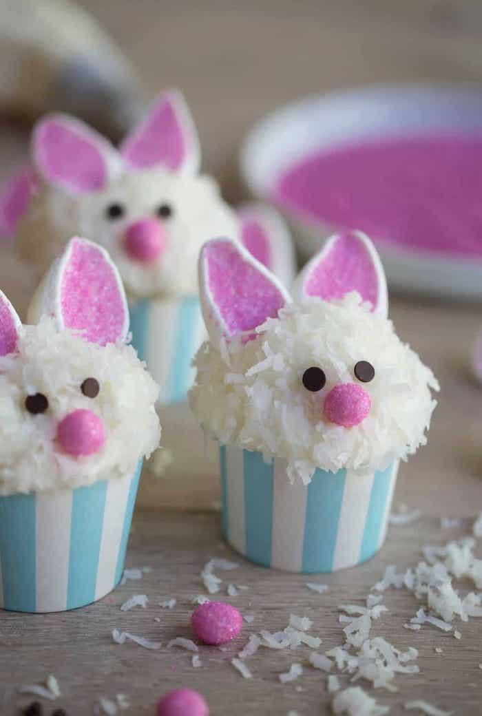 Cupcake lapin au chocolat, cocos et marshmallow cadeau paques bébé, idee cadeau maison pour la fete de paques