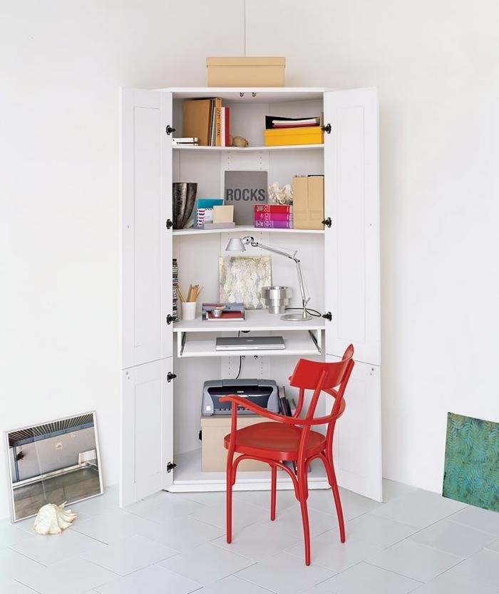 astuce pour aménager un bureau petit espace, idée où faire un coin de travail dans son domicile, transformer un meuble en bureau