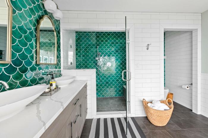 Original modele de salle de bain, aménagement petite salle de bain verte style sirène carrelage arrondi