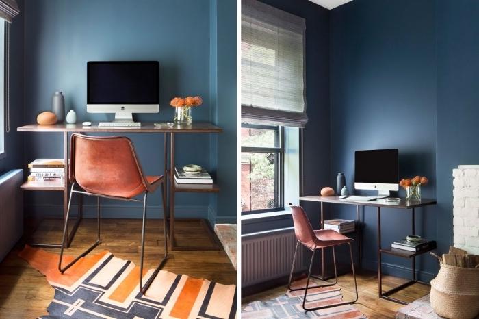 quelle peinture murale tendance 2020, idée de bureau avec rangement en métal pour aménager un coin de travail maison