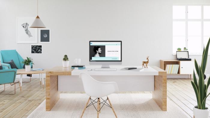 agencement bureau à domicile moderne dans un salon blanc et spacieux, idée coin de travail à domicile avec meubles tendance