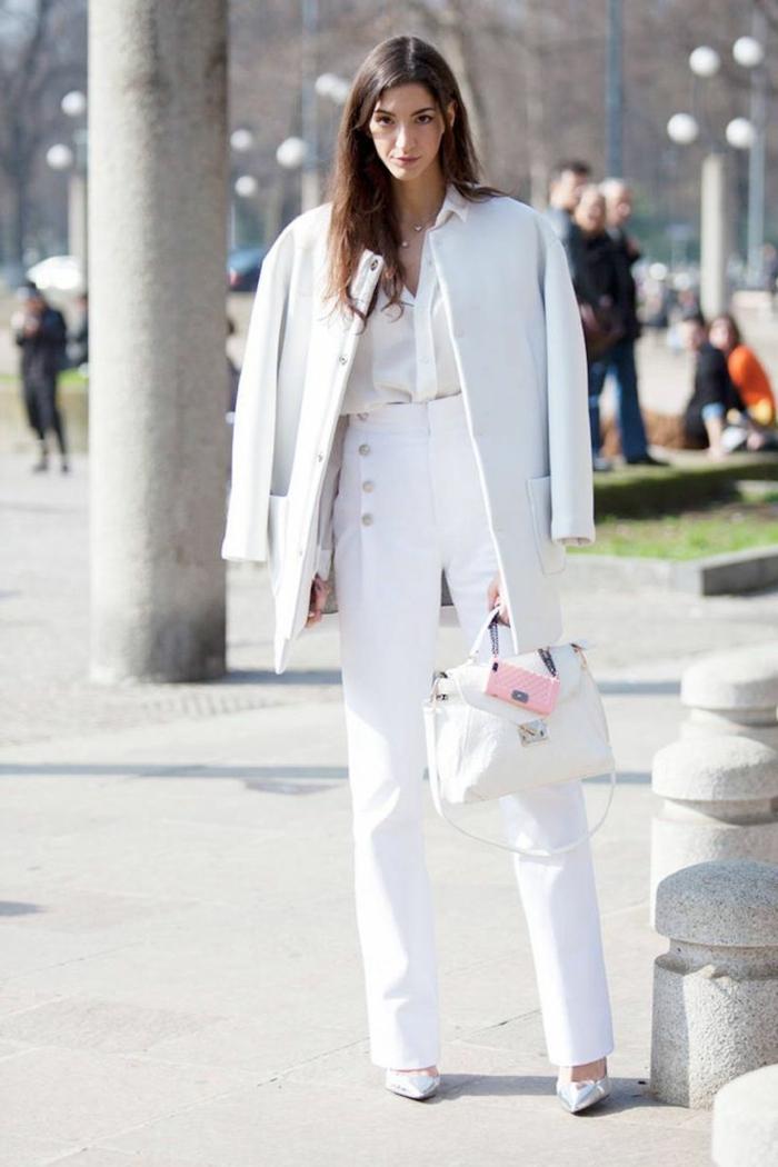 Hiver tenue femme pantalon long taille haute, ensemble costume femme, tailleur blanc femme tenue à adopter
