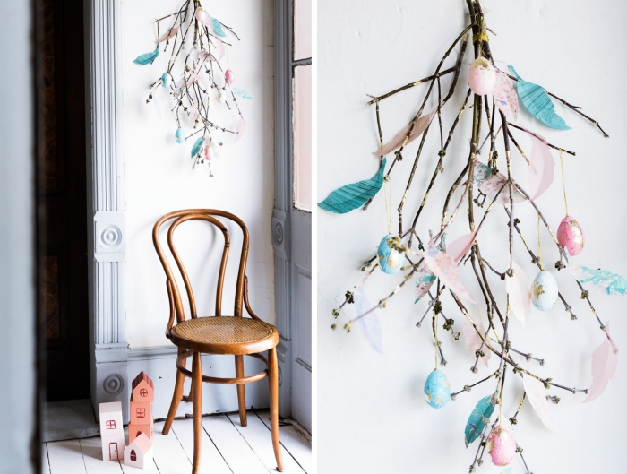 deco paques facile à réaliser soi-même, diy suspension en branches séchées décorées de plumes en papier diy et oeufs