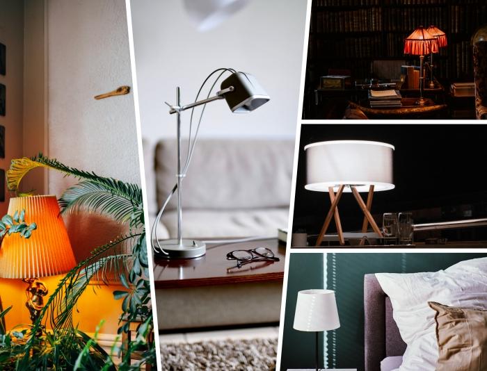 comment bien choisir un luminaire selon le type de la pièce, décoration de chambre à coucher avec lampe de chevet blanc et noir