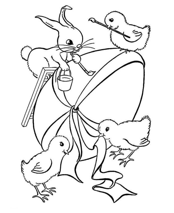 coloriage oeuf de paques facile, idée dessin simple à colorier pour enfants à motifs poulets et lapin artistes