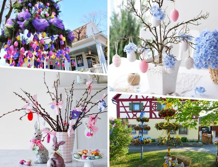idée deco de paques originale avec branches et ornements dans un vase, exemple comment décorer un arbre de jardin avec rubans et oeufs