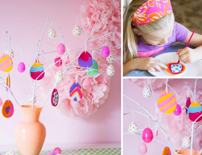 bricolage paques maternelle facile avec peintures acryliques, comment décorer des oeufs de pâques en plastique ou céramique