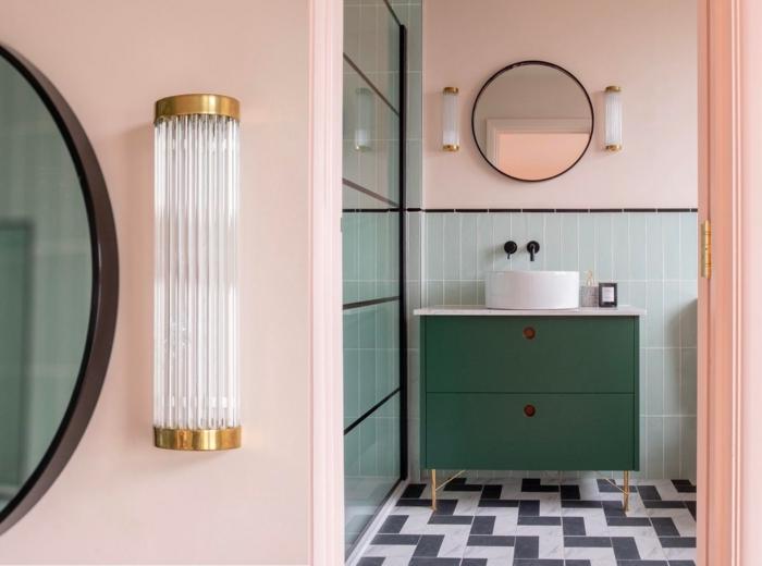 Rose claire et verte couleurs pour salle de bain, revêtements muraux pour les murs des salles de bains miroir ronde