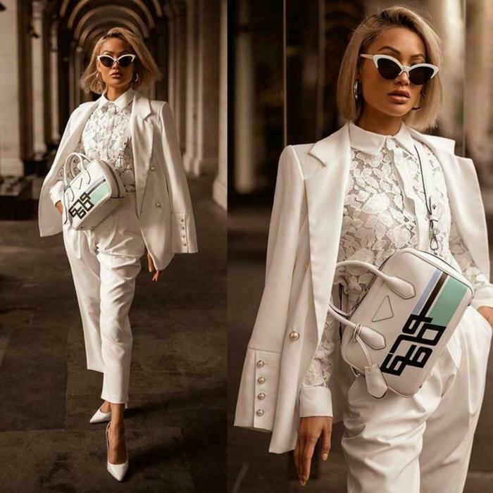 Veste costume femme mariage, chemise dentelle et tailleur blanc femme smoking tenue avec lunettes de soleil