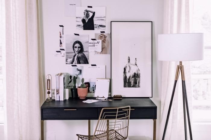 idée comment décorer un coin de travail à domicile pour femme, exemple de bureau petit espace en couleur noir et or