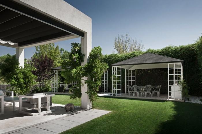 Inspiration jardin cour avec peleuse verte, idees terrasses exterieures, amenagement petit jardin moderne