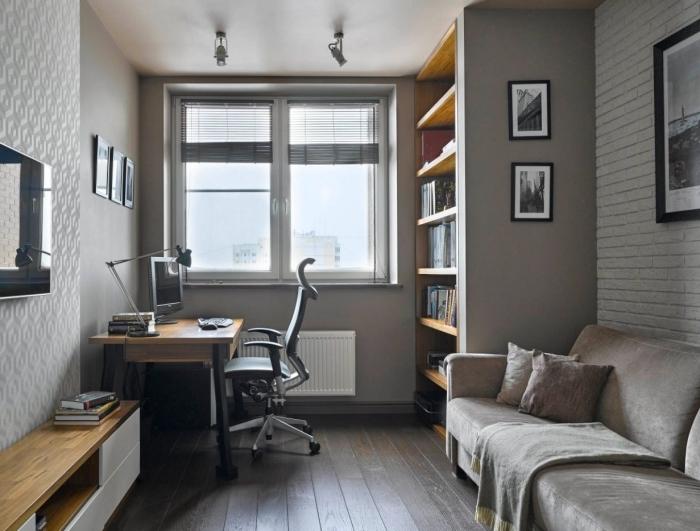 idée aménagement salon ou chambre à coucher avec console bureau, décoration plan de travail moderne avec meuble bois