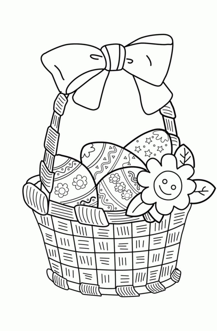 coloriage printemps facile avec panier rempli d'oeufs de Pâques et fleurs, idée dessin simple à imprimer