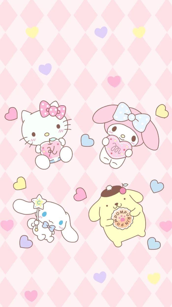 hello kitty et autres personnages kawaii pour votre fond ecran sympa de couleur rose
