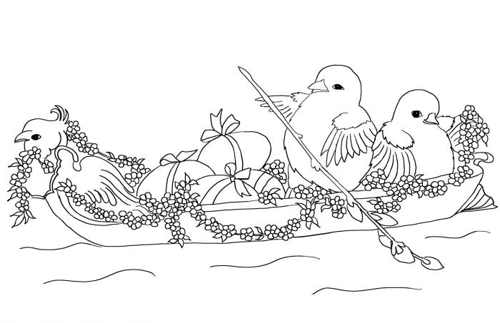 dessin oeuf de paques ludique pour petits, image à colorier à motifs oiseaux et oeufs de Pâques dans une barque