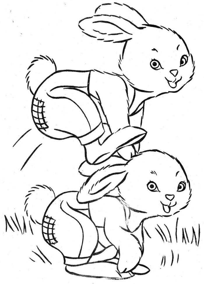 coloriage lapin facile pour petits, idée de dessin simple à colorier sur le thème de Pâque, jeu amusant lapins en plein air