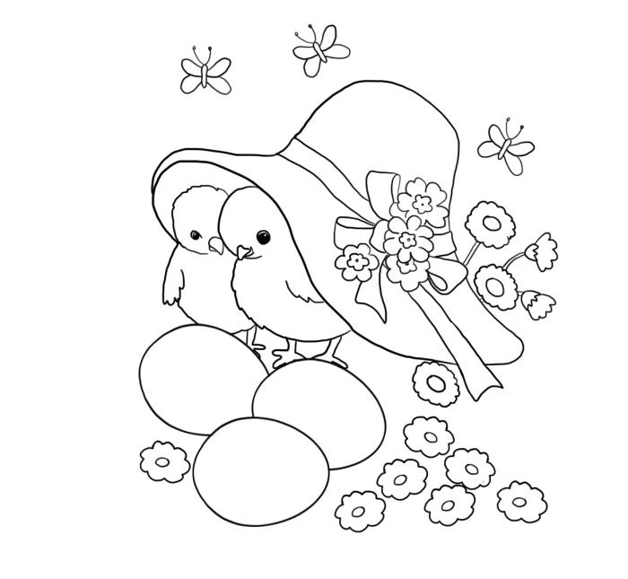 coloriage paques à imprimer, illustration mignonne pour la fête de Pâque avec famille de poulets cachés sous capeline