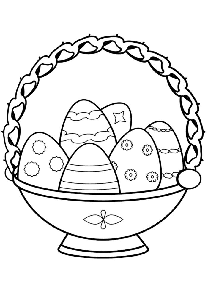 coloriage maternelle facile pour petits, idée de dessin facile à imprimer avec panier d'oeufs de Pâques décorés