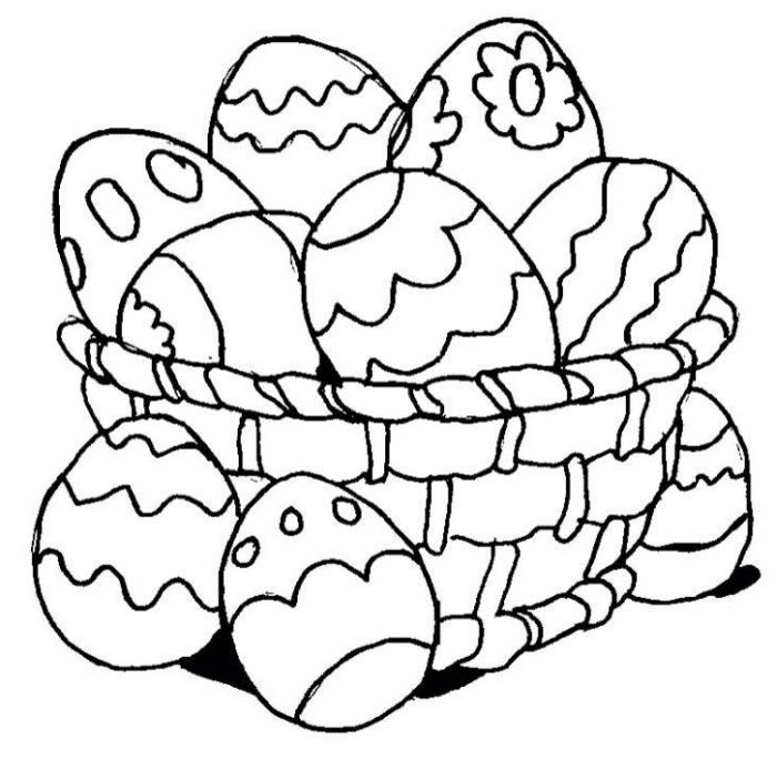 coloriage maternelle facile pour Pâques, dessin simple à imprimer avec panier de Pâques et oeufs