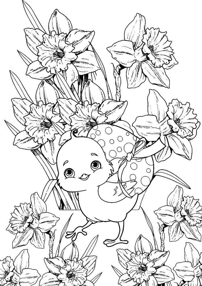 coloriage printemps facile pour petits, dessin simple à imprimer pour les enfants, illustration petit poulet et fleurs