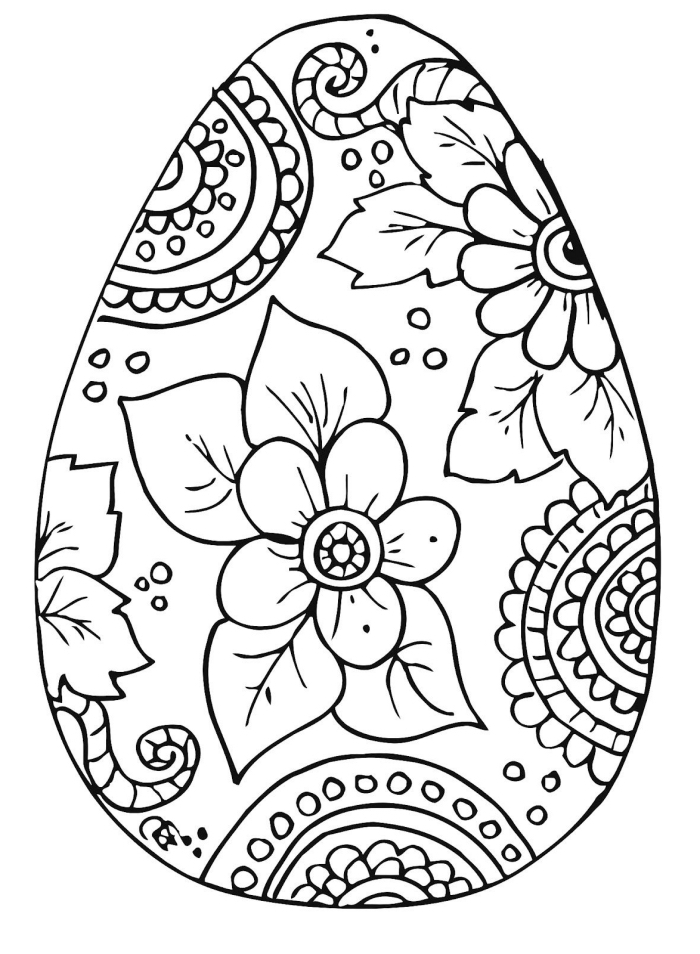 exemple de dessin de paques a imprimer, art-thérapie facile pour adultes à motif gros oeuf de Pâques mandala