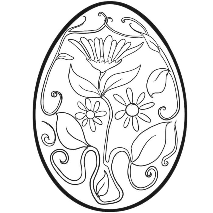 oeuf de paques à colorier, idée de dessin facile pour grands et petits sur le thème fête de Pâques