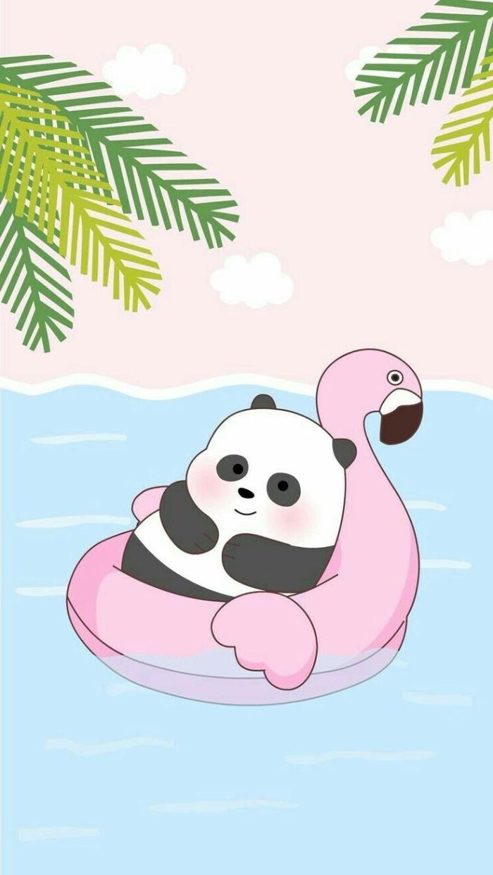 exemple de paysage tropical dessiné, panda sur bouée flamant rose pour votre fond d écran été style kawaii