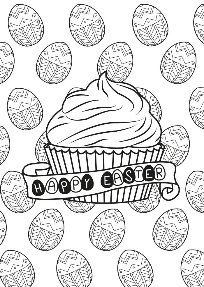 dessin de paques facile, idée de carte de Pâques à imprimer et colorer avec cupcake et lettres Joyeux Pâques
