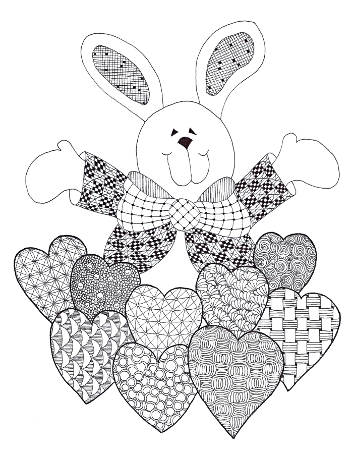 modèle de coloriage paques à imprimer, dessin à colorer pour enfant, carte à imprimer avec gros lapin et coeurs