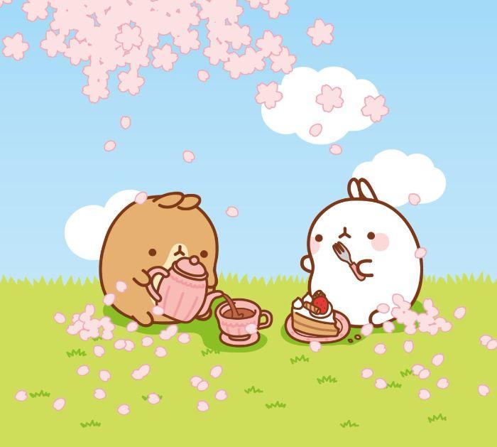 dessin personnages kawaii sympas en train de boire du thé sur un gazon dans le foret, fleurs de cerisier rose