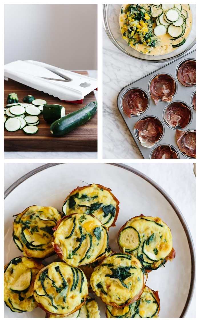 comment faire des muffins salés auxcourgettes, oeufs, fromage et prosciutto pour votre petit dejeuner cetogene