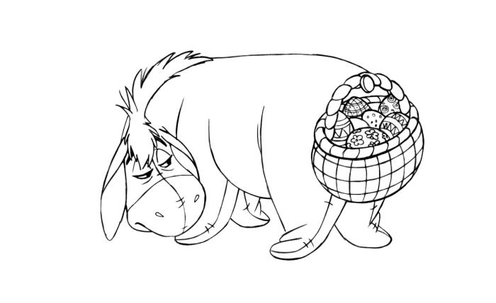 coloriage facile sur le thème de Pâques, idée dessin Disney à colorier avec Piglet, coloriage simple pour Pâques