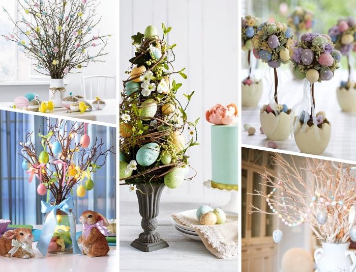 exemple comment décorer une table de pâques avec centre de table en forme d'arbre ou sapin, bricolage paques facile