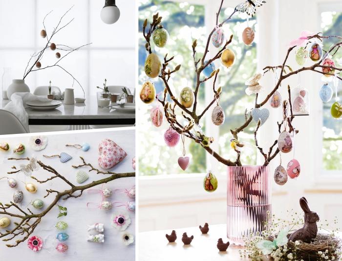 exemple comment décorer un arbre de pâques maison réalisé avec branches et oeufs DIY, déco de pâques scandinave avec branches dans vase