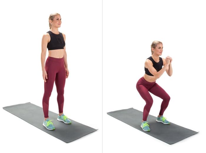 quel exercice pour brûler des calories ou muscler son corps, exemple de squats femme, programme musculation maison