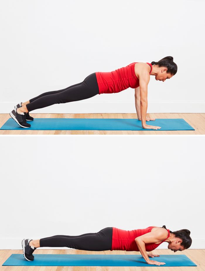 exemple comment faire un push-up femme, exercice de sport à pratiquer chez soi pour muscler et entraîner son corps