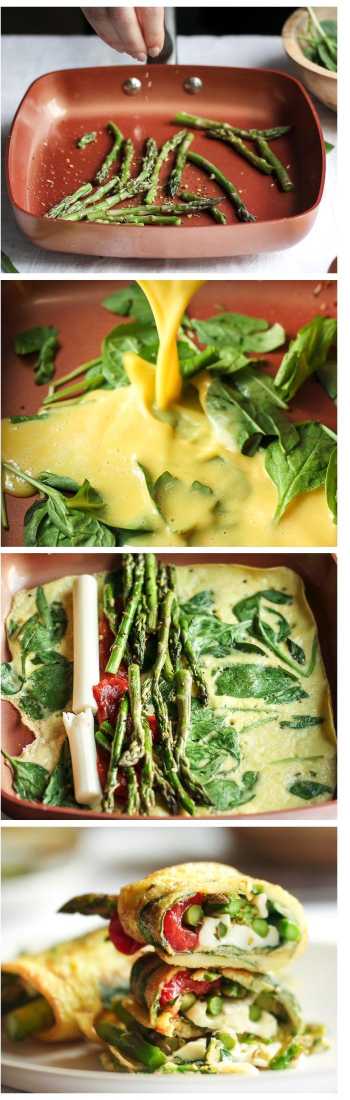 idee comment faire une omelette simple aux oeufs, epinards avec farce de mozzarella et asperges sautées