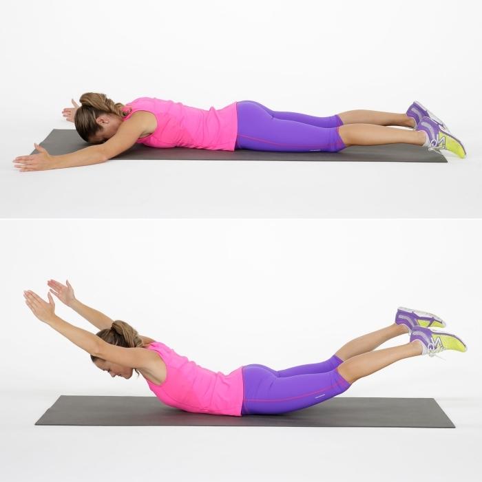 idée musculation facile ou programme sport perte de poids pour femme, comment faire un superman facile sur tapis de sport
