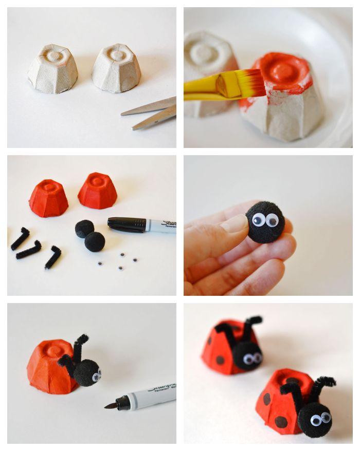 bricolage boite d oeuf simple et rapide, fabriquer une coccinelle en alvéole dans une boîte à oeuf avec pompons noirs et cure-pipes, activité créative enfant