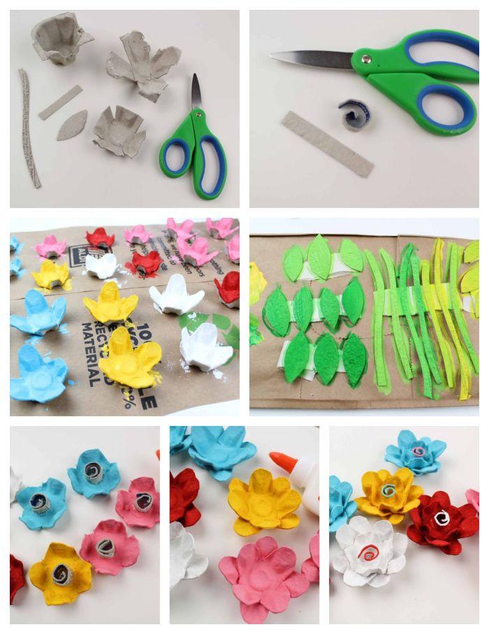 activite enfant 5 ans, idée de fleurs en carton oeufs boite, pétales colorées de peinture acrylique, tuto fleur en papier etape par etape
