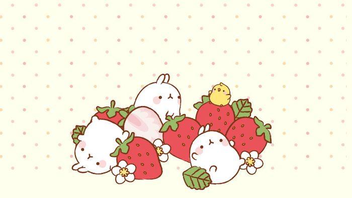 animaux kawaii, plusieurs petits lapins entourées de fleurs blanches et des fraises sur fond blanc à pois