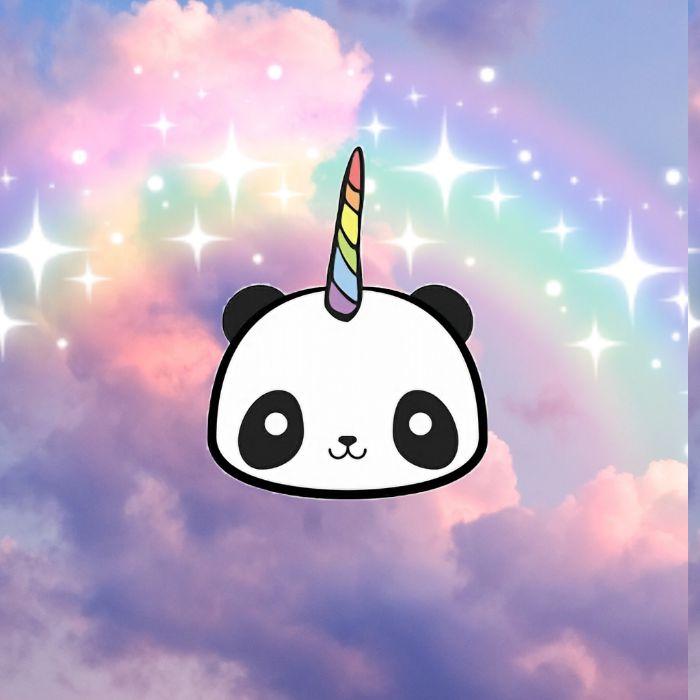 pandicorne, idee de tête de licorne avec corne colorée sur fond arc en ciel pour votre fond d écran