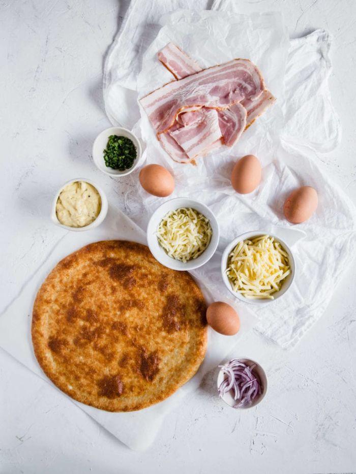 ingredienrs necessaires pour faire une pâte à pizza sans gluten aux fromages, régime cétogène recette pett dejeuner sans glucides
