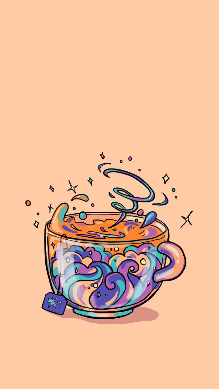 tasse à thé arc en ciel avec boisson colorée sur fond rose saumon, idee fond ecran iphone original style kawaii