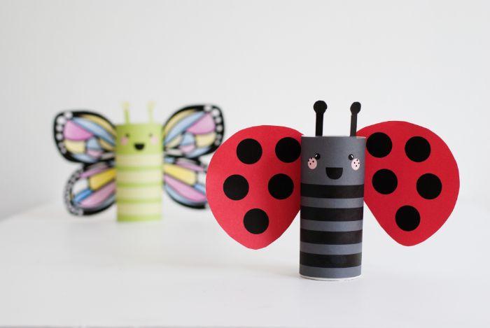 bricolage rouleau papier toilette pour tout petit à motif coccinelle ou papillon avec gabarits à imprimer pour décorer
