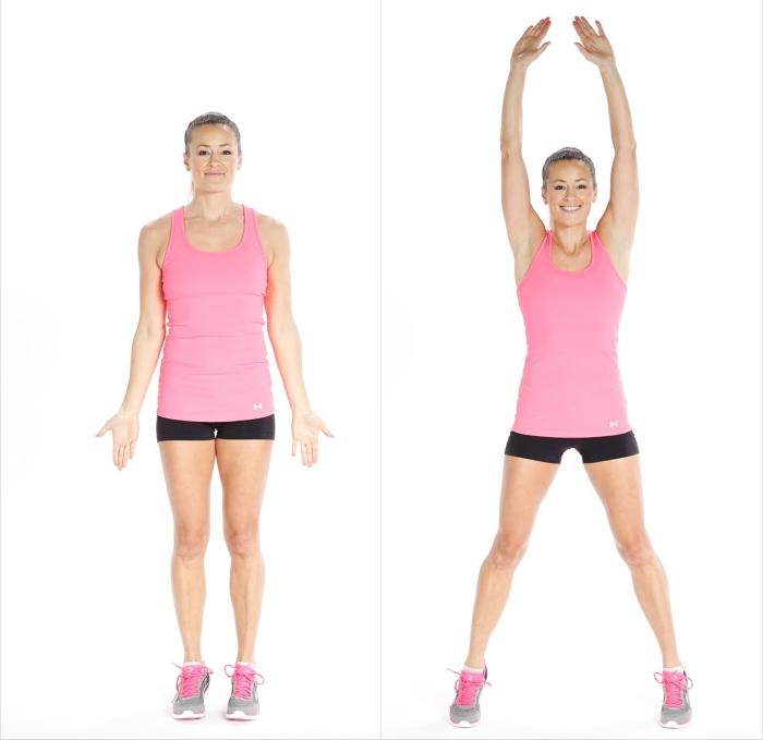 entraînement full body avec un exercice cardio, comment faire des jumping jacks chez soi, programme sport maison