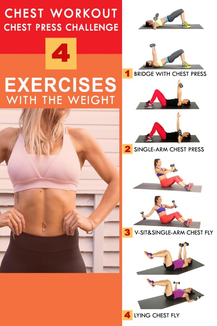 idée de programme musculation haut du corps pour femme, quels exercices avec poids faciles à faire à la maison avec haltères femme