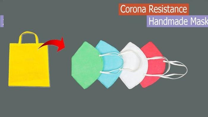 recyclage de sac en tissu de couleur pour faire un masque maison simple et rapide, comment se proteger du coronavirus