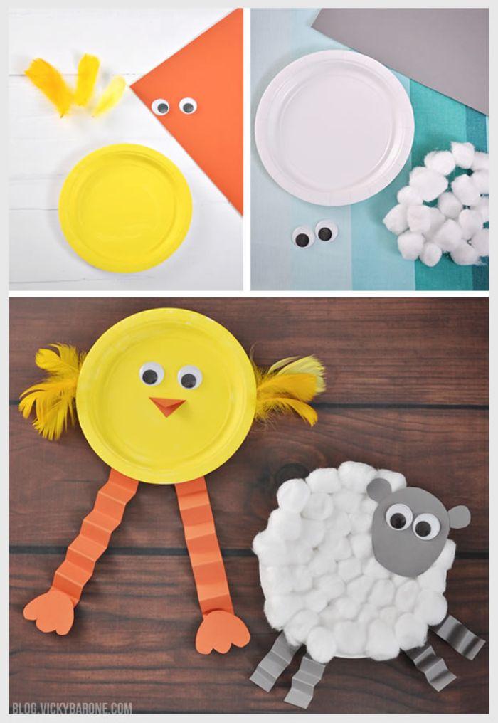 agneau ou poussin de paque fabriqué dans assiette de papier avec des yeux mobiles, coton et des plumes colorées